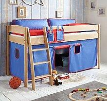 Hochbett Michelle 20671 Kinderbett Bett Kinderzimmer Stoffset Blau/Ro