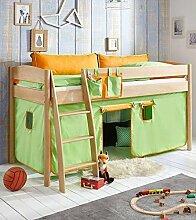 Hochbett Michelle 20672 Kinderbett Bett Kinderzimmer Stoffset Grün/Orange