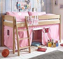 Hochbett Michelle 20674 Kinderbett Bett Kinderzimmer Stoffset Rosa/Weiß