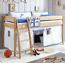 Hochbett Michelle 20680 Kinderbett Bett Kinderzimmer Stoffset Weiß/Delphin