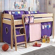 Hochbett Michelle 20685 Kinderbett Bett Kinderzimmer Stoffset Rosa/Viole