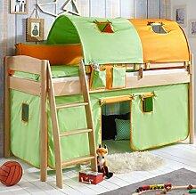 Hochbett Michelle 20705 Kinderbett Bett Kinderzimmer Stoffset Grün/Orange