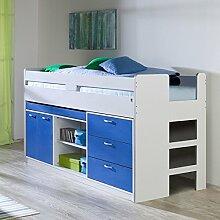 Hochbett »MIEKA154« mit Stauraumfunktion weiß/blau