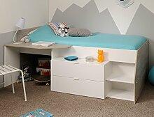 Hochbett Mika A 90x200cm weiß grau Kinderbett Kommode Schreibtisch Jugendzimmer Kinderzimmer