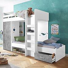 Hochbett, mit 2 Liegeflächen, Kleiderschrank und