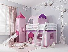 Hochbett mit Rutsche Midsleeper Kids in Pink mit Zelt, Tunnel, Turm & Tidy Noa & Nani weiß