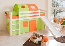 Hochbett mit Rutsche Rutschbett Manuel Kiefer massiv Weiss mit Farbauswahl, Vorhangstoff:Grün Orange