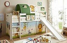Hochbett mit Rutsche Rutschbett Manuel Kiefer massiv Weiss mit Farbauswahl, Vorhangstoff:Safari