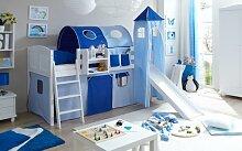 Hochbett mit Rutsche und Turm Spielbett Ekki Landhaus Kiefer massiv Weiss mit Farbauswahl, Vorhangstoff:Hellblau Dunkelblau
