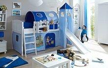 Hochbett mit Rutsche und Turm Spielbett Ekki Landhaus Kiefer massiv Weiss mit Farbauswahl, Vorhangstoff:Pirat Hellblau Dunkelblau