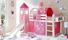 Hochbett mit Rutsche und Turm Spielbett Kasper Kiefer massiv Weiss mit Farbauswahl, Vorhangstoff:Horse Pink