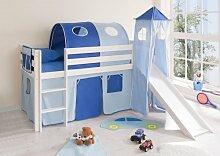 Hochbett mit Rutsche und Turm Spielbett Kasper Kiefer massiv Weiss mit Farbauswahl, Vorhangstoff:Hellblau Dunkelblau
