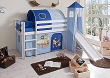 Hochbett mit Rutsche und Turm Spielbett Kasper Kiefer massiv Weiss mit Farbauswahl, Vorhangstoff:Pirat Hellblau Dunkelblau