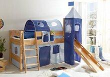 Hochbett mit Rutsche und Turm Spielbett Kenny Buche massiv Natur teilbar mit Farbauswahl, Vorhangstoff:Hellblau Dunkelblau