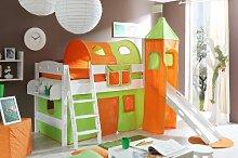 Hochbett mit Rutsche und Turm Spielbett Kenny Buche massiv Weiss teilbar mit Farbauswahl, Vorhangstoff:Grün Orange