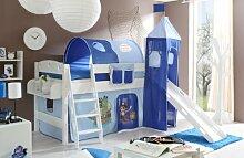 Hochbett mit Rutsche und Turm Spielbett Kenny Kiefer massiv Weiss teilbar mit Farbauswahl, Vorhangstoff:Pirat Hellblau Dunkelblau