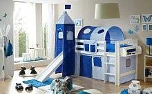 Hochbett mit Rutsche und Turm Spielbett Toby Buche massiv Weiss teilbar mit Farbauswahl, Vorhangstoff:Hellblau Dunkelblau