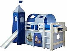 Hochbett mit Rutsche und Turm Spielbett Toby Buche massiv Weiss teilbar mit Farbauswahl, Vorhangstoff:Pirat Hellblau Dunkelblau