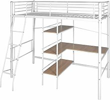 Hochbett mit Schreibtisch 200 x 90 cm Kinderbett aus Metall Weiß und Braun