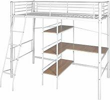 Hochbett mit Schreibtisch 200x 90cm weiß und braun Metall