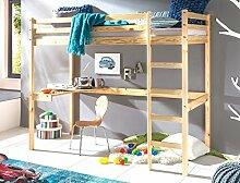 Hochbett mit Schreibtisch Dean 90x200 Kiefer lackiert Massivholz Bett Kinderbett Kinderzimmer