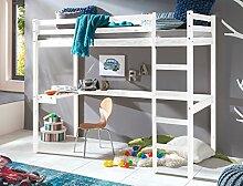 Hochbett mit Schreibtisch Dean 90x200 Kiefer weiß lasiert Massivholz Bett Kinderbett Kinderzimmer