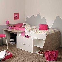 Hochbett mit Treppe und Schreibtisch Weiß Pharao24