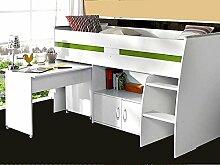 Hochbett Rean 1 204x110x177cm weiß Kinderbett Schreibtisch Kommode Kinderzimmer Be