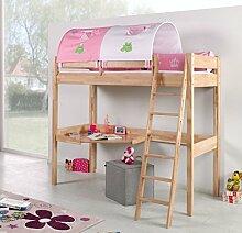 Hochbett RENATE Multifunktionsbett mit Schreibtisch Bett Buche Stoffset Prinzessin