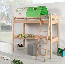 Hochbett RENATE Multifunktionsbett mit Schreibtisch Bett Buche Stoffset Dschungel