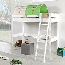 Hochbett RENATE Multifunktionsbett mit Schreibtisch Bett Weiß Stoffset Indianer