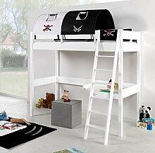 Hochbett RENATE Multifunktionsbett mit Schreibtisch Bett Weiß Stoffset Pira