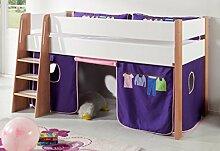 Hochbett SAM 1 Kinderbett Spielbett halbhohes Bett Buche Weiß Stoff Rosa/Viole