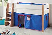 Hochbett SAM 1 Kinderbett Spielbett halbhohes Bett Buche Weiß Stoff Blau/Ro