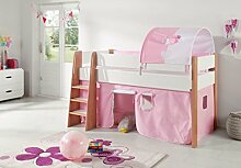 Hochbett SAM 2 Kinderbett Spielbett halbhohes Bett Buche Weiß Stoff Rosa/Weiß