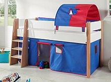 Hochbett SAM 2 Kinderbett Spielbett halbhohes Bett Buche Weiß Stoff Blau/Ro