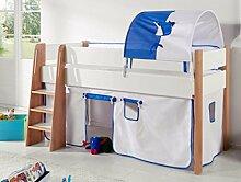 Hochbett SAM 2 Kinderbett Spielbett halbhohes Bett Buche Weiß Stoff Weiß/Delfin