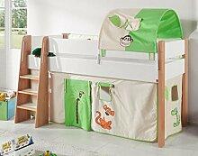 Hochbett SAM 2 Kinderbett Spielbett halbhohes Bett Buche Weiß Stoff Dschungel