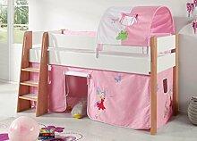 Hochbett SAM 2 Kinderbett Spielbett halbhohes Bett Buche Weiß Stoff Prinzessin