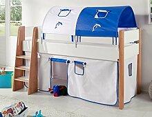 Hochbett SAM 3 Kinderbett Spielbett halbhohes Bett Buche Weiß Stoff Weiß/Delfin