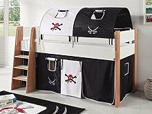 Hochbett SAM 3 Kinderbett Spielbett halbhohes Bett Buche Weiß Stoff Pira