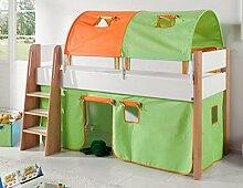 Hochbett SAM 3 Kinderbett Spielbett halbhohes Bett Buche Weiß Stoff Grün/Orange