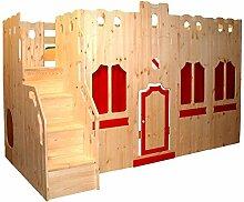 Hochbett Schloss Bett mit Treppe und Fassade GS zertifziert, Kiefer Massivholz aus nachhaltiger Forstwirtschaft, inkl. Ros