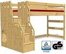 Hochbett Schlossbett mit Treppe+Rost, GS zertifziert, Kiefer Massivholz aus nachhaltiger Forstwirtschaf