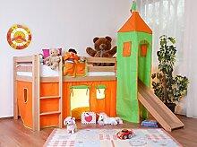 Hochbett Spielbett Alex mit Rutsche Buche natur lackiert, inkl. Stoffset grün-orange