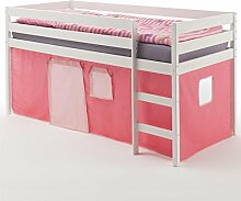 Hochbett Spielbett Bett ERIK, Kiefer massiv, weiss lackiert mit Vorhang in pink/rosa