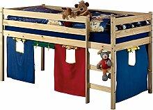 Hochbett Spielbett für Kinder ERIK Kiefer massiv natur lackiert mit Vorhangset & Rollrost 90 x 200 cm (B x L)