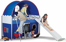 Hochbett Spielbett - FUNNY - 90 x 200 cm Kompletset in Blau
