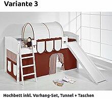 Hochbett Spielbett IDA Braun Beige, mit Rutsche und Vorhang, weiß, Variante 3