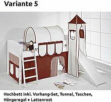 Hochbett Spielbett IDA Braun Beige, mit Turm, Rutsche und Vorhang, weiß, Variante 5